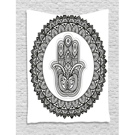 Ethnic Tapestry, Ancient Eastern Oriental Henna Hand and Mehndi Arabesque Tattoo Work of Art Print, Wall Hanging for Bedroom Living Room Dorm Decor, Black White, by