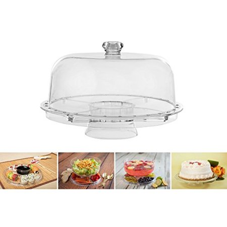 Amazing Cake Stand with Dome by Adorn home | Multifunctional Cake and Salad Server with 5 Compartment Tray or Center Dip Bowl | 6 - Dome Cake