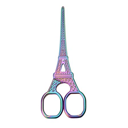 Cutter Scissors (Stainless Steel Colorful Scissors, Vintage Eiffel Tower Design Cutter Embroidery Cross Stitch Sewing Tool Home Office)