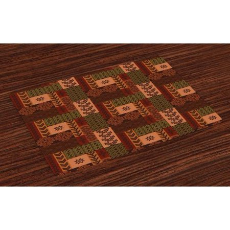 Native American Placemats Set of 4 Ethnic Style Geometric Folk Design Geometric Floral Motifs Print, Washable Fabric Place Mats for Dining Room Kitchen Table Decor,Pink Green and Brown, by Ambesonne