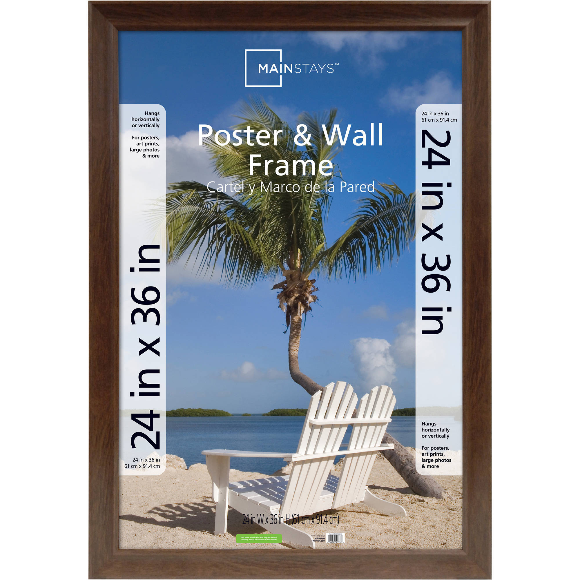 Mainstays 24x36 Wide Walnut Poster and Picture Frame by MCS Industries, Inc.