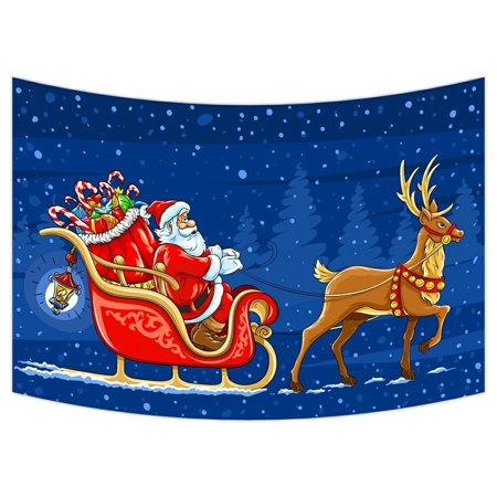 ZKGK Merry Christmas Santa Claus Tapestry Wall Hanging Wall Decor Art for Living Room Bedroom Dorm Cotton Linen Decoration 90x60 Inches Dorm Room Christmas Decorations