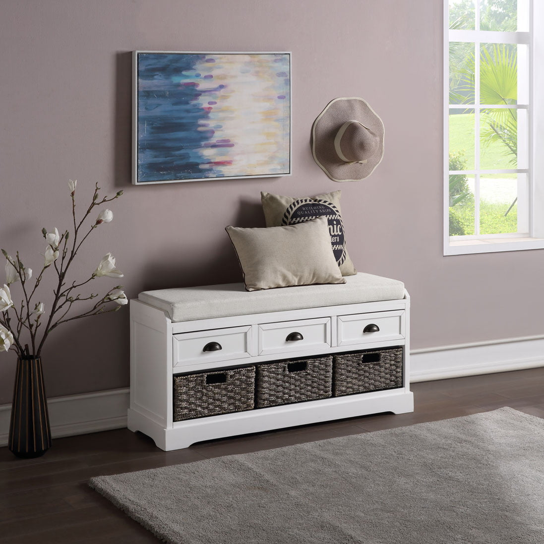 Shoe Storage Bench Entryway Storage Bench With Shoe Rack Drawers Wooden Entryway Foyer Bedroom End Of Bed Bench W Seating Cushions Hallway Shoe Footstool Ottoman 20 2 X44 X13 7 White A1254 Walmart Com Walmart Com