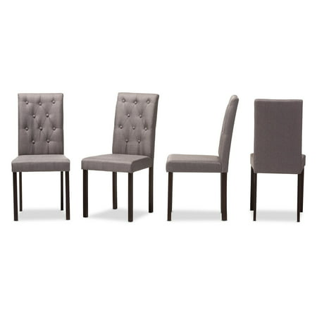 Baxton Studio Gardner Modern and Contemporary Dark Brown Finish Upholstered Dining Side Chair - Set of 4