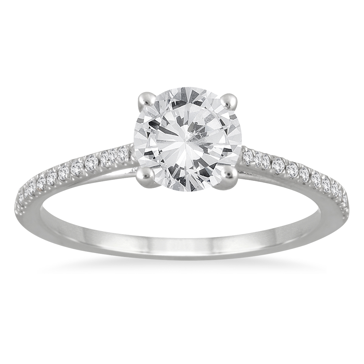 1 1 6 carat tw cathedral engagement ring in 14k white gold