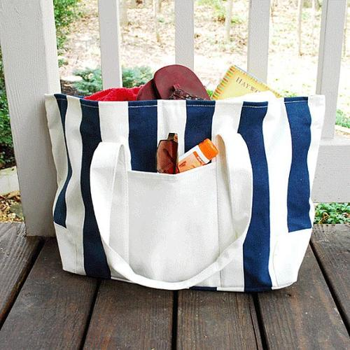 Cathys Concepts 2176N Striped Canvas Tote Bag