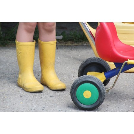 Canvas Print Yellow Boots Rubber Boots Child Out Stretched Canvas 10 x
