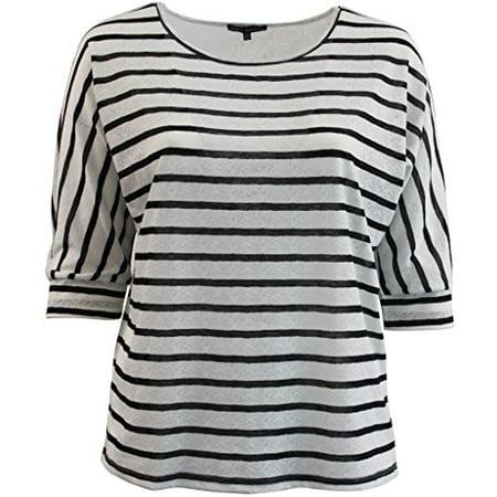 - Women's Plus-Size Striped Lace Knit Top T-Shirt Blouse Tee Fashion Sweater Black 1X G160.05L
