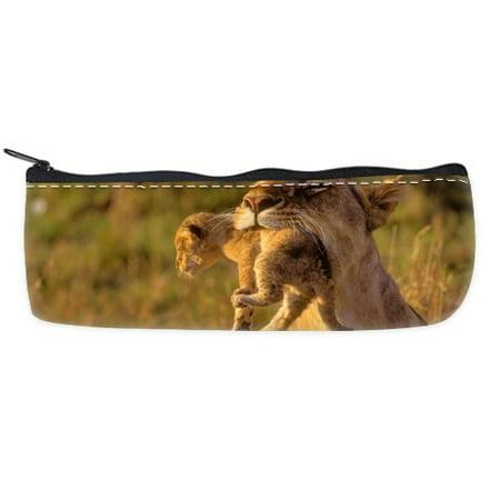 POPCreation Stylish Baby Animal Lion Mother Print Design Makeup School Pencil Case Pencil Bag Zipper Organizer Bag - Lion Make Up