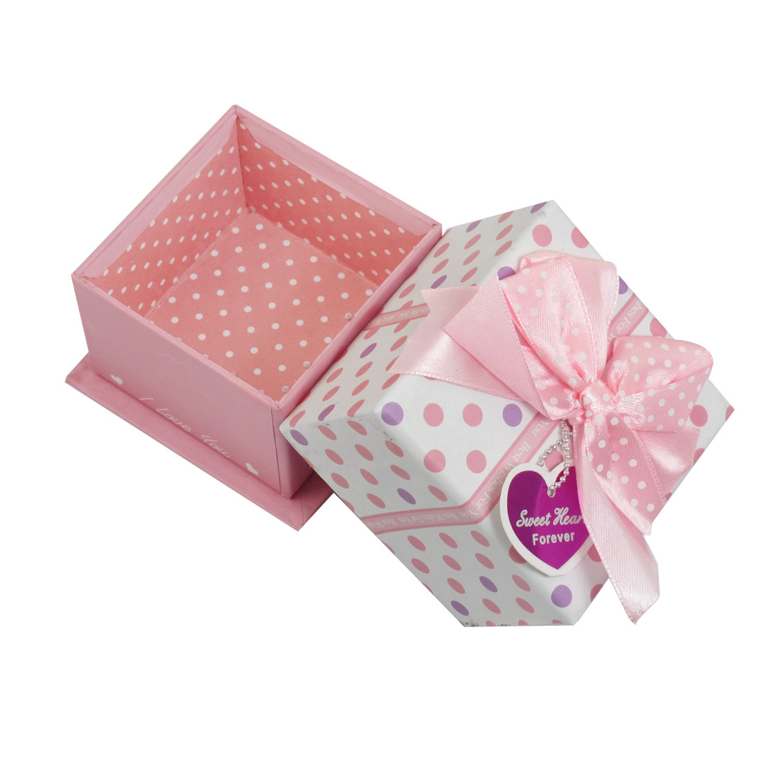Pink Bowknot Accent Dots Pattern Square Cardboard Gift Box Present Case