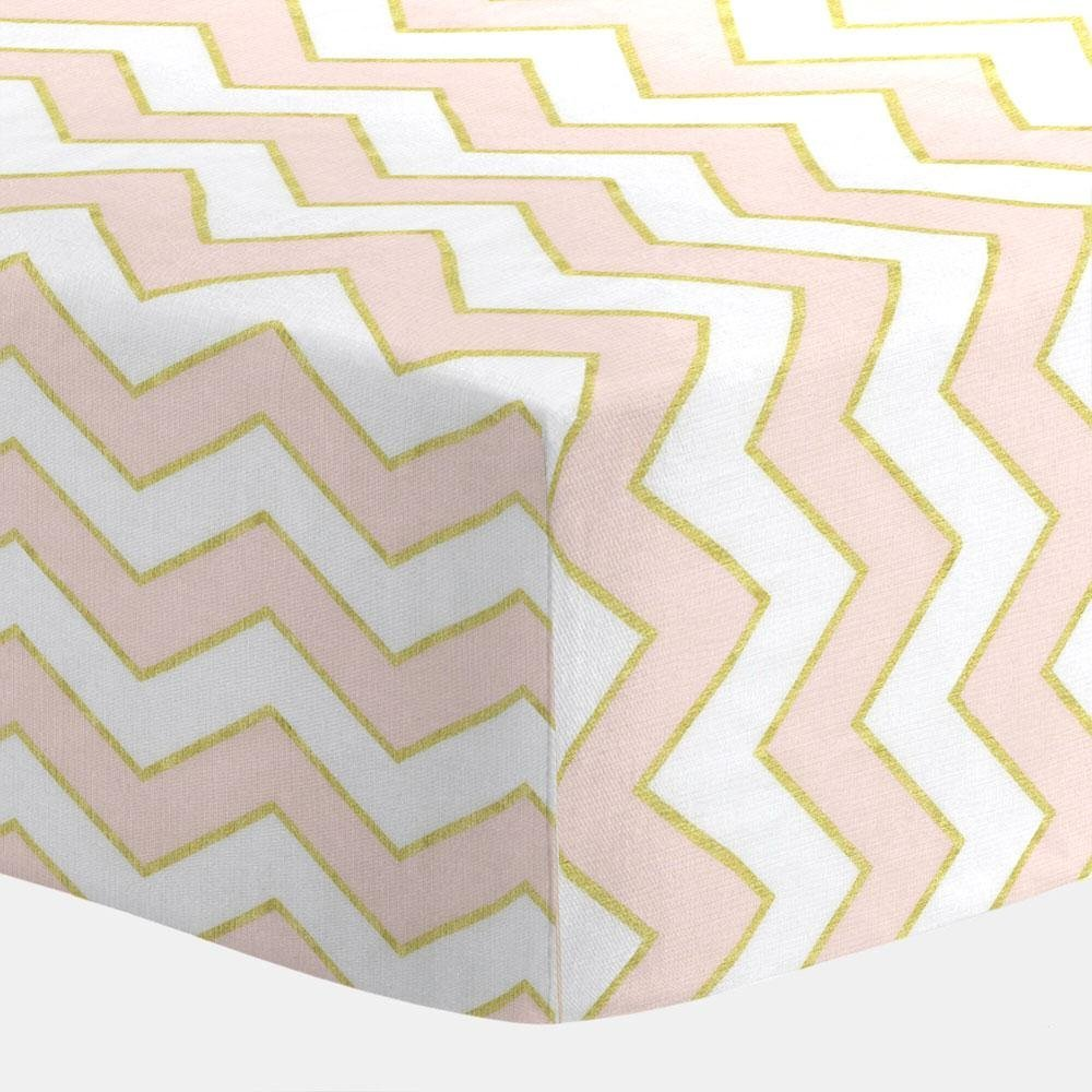 Carousel Pale Pink and Gold Chevron Crib Sheet