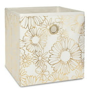 """Mainstays Collapsible Fabric Cube Storage Bins (10.5"""" x 10.5""""), 4 Pack, Gold Metallic"""