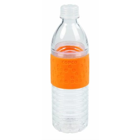 Copco 2510-2183 Hydra Reusable Tritan Water Bottle with Spill Resistant Lid and Non-Slip Sleeve, Chevron Orange - Small Reusable Water Bottles