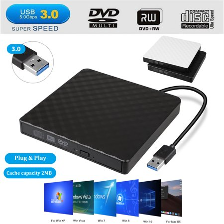 EEEkit External CD DVD Drive USB 3.0 Portable CD DVD +/-RW Drive Slim DVD/CD Rom Rewriter Burner Writer, High Speed Data Transfer for Laptop Macbook Desktop MacOS Windows10/8/7/XP Laptop Cd Rom Dvd