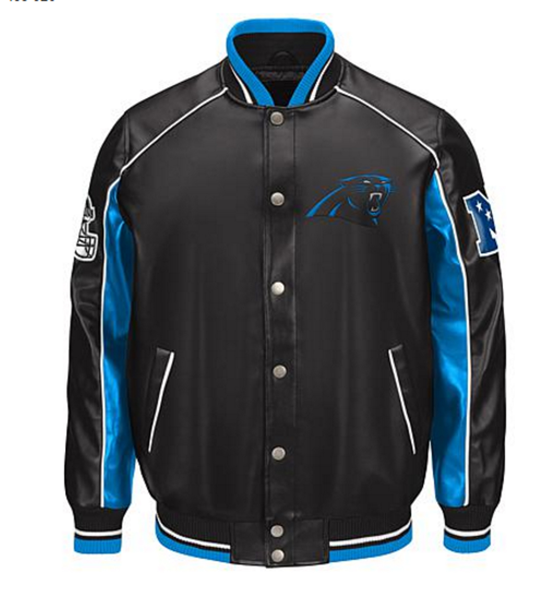 NFL Carolina PANTHERS Faux Leather Varsity Jacket ~ XL