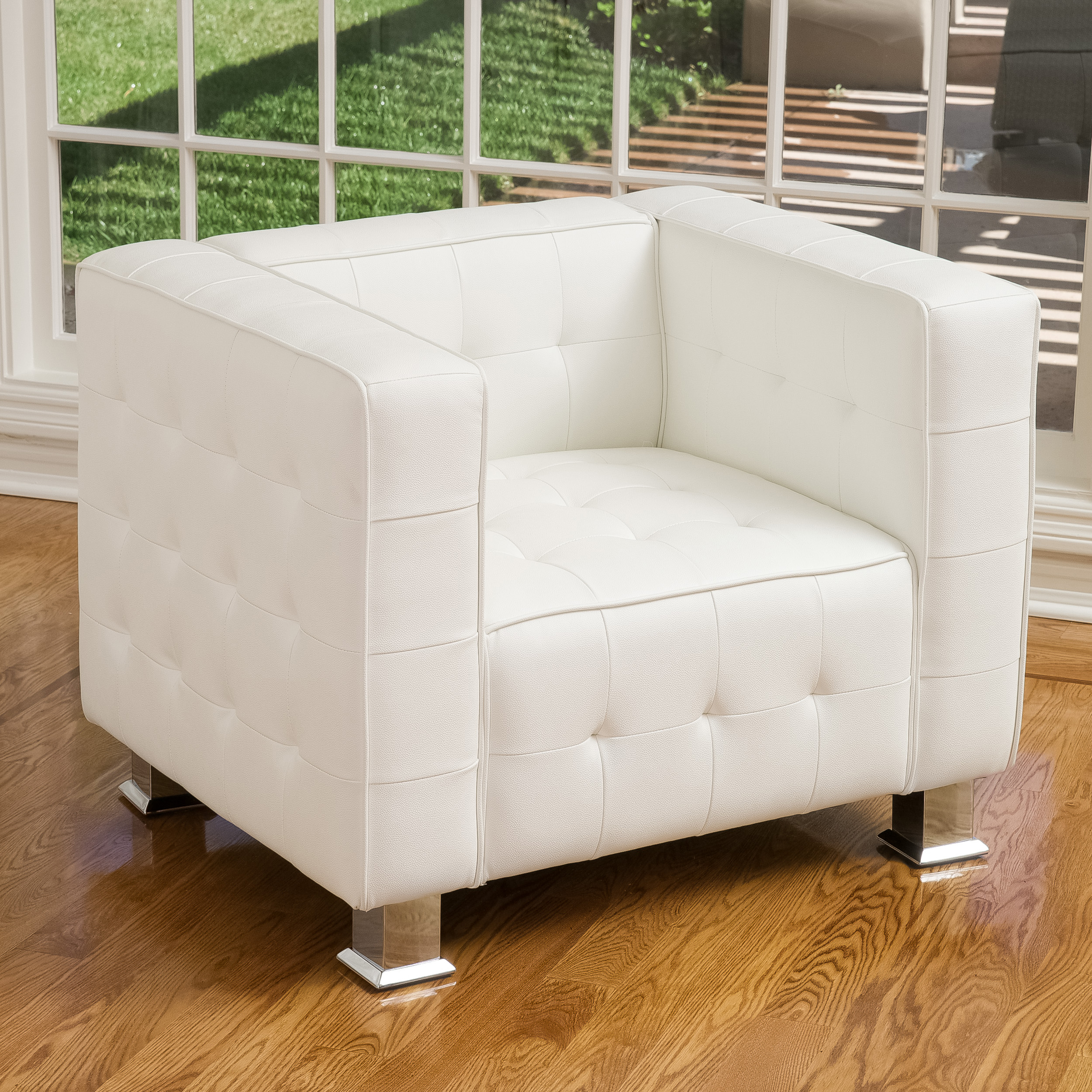 Noble House Darrin White Leather Tufted Club Accent Chair