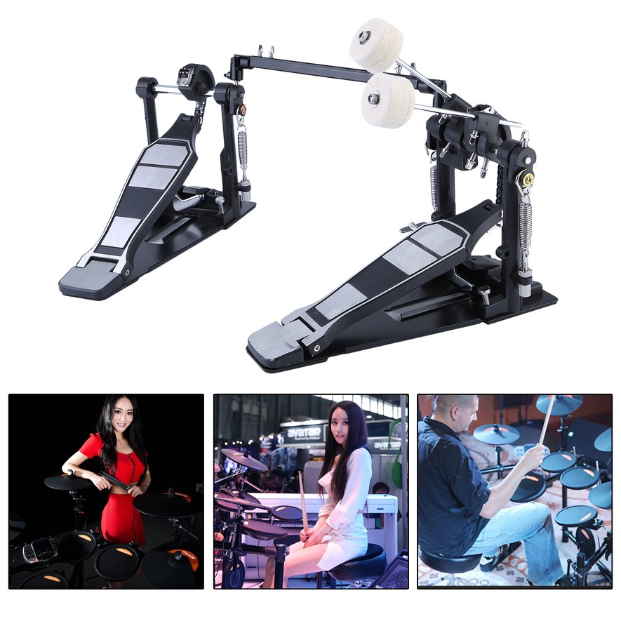 Classic Drum Pedal Dual Foot Kick Pedal Tension Spring And Single Chain Drive by LESHP