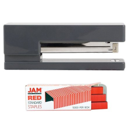 Jam Paper Office   Desk Sets  1 Stapler 1 Pack Of Staples  Grey And Red  2 Pack