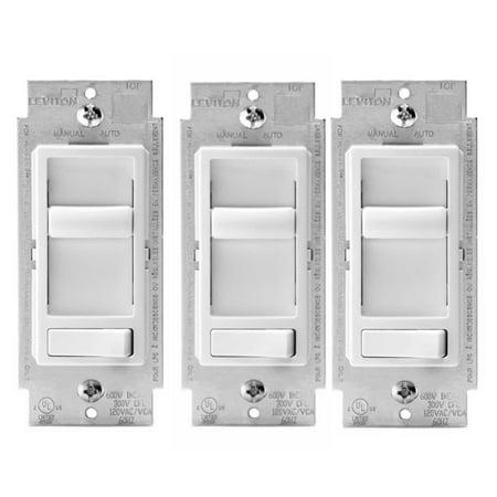 Leviton Decora 06674 SureSlide 150W LED Light Dimmer (White, 3-Pack)