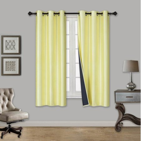 ELIO YELLOW 2-Piece 100% Thermal Blackout Grommet Window Curtain with Black Foam Backing Set, Solid Room Darkening Panels 35