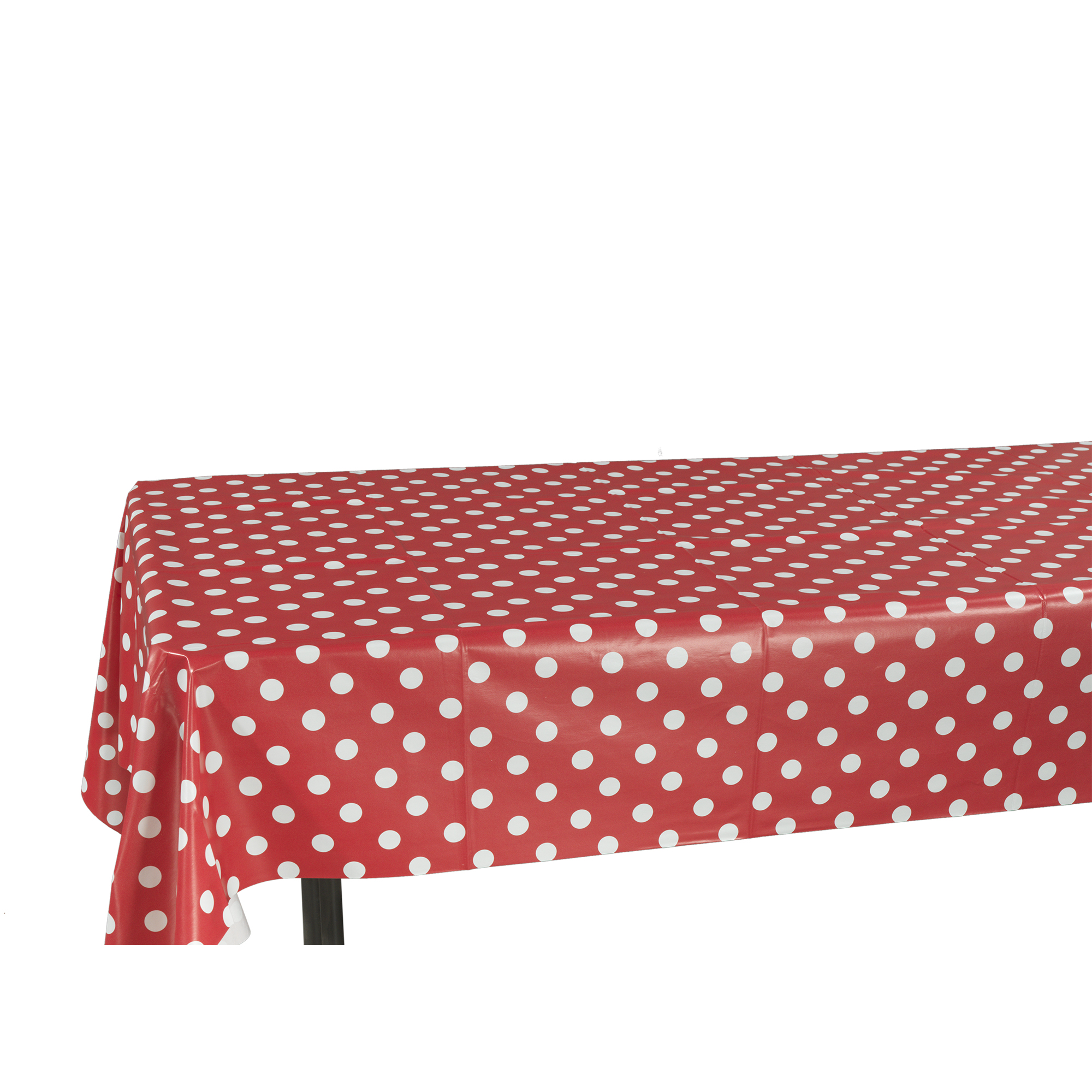 """Ottomanson Vinyl Polka Dot Design 55"""" X 70"""" Indoor & Outdoor Tablecloth Non-Woven Backing"""