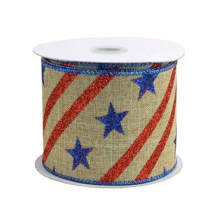 Glitter Stars Striped Faux Burlap Ribbon, 2-1/2-Inch, 10 Yards