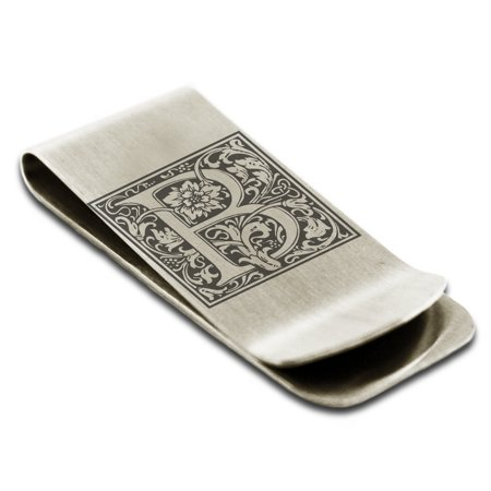Stainless Steel Letter B Initial Floral Monogram Engraved Money Clip Credit Card Holder