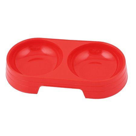 Unique Bargains Pet Dog Cat Puppy Plastic Double Food Water Bowl Feeding Feeder Dish Red
