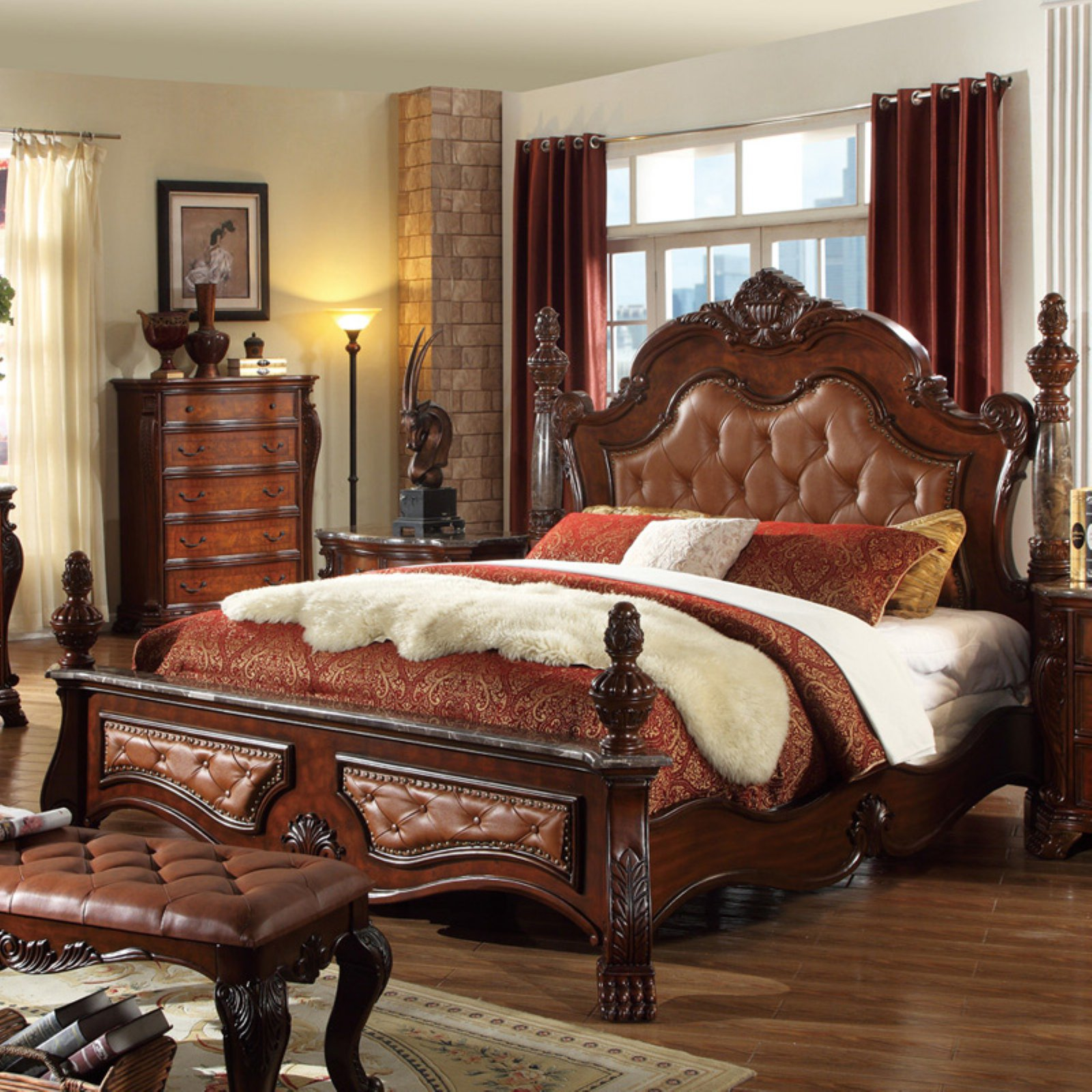 Meridian Luxor Queen Size Bedroom Set 5pcs in Rich Cherry Traditional Style