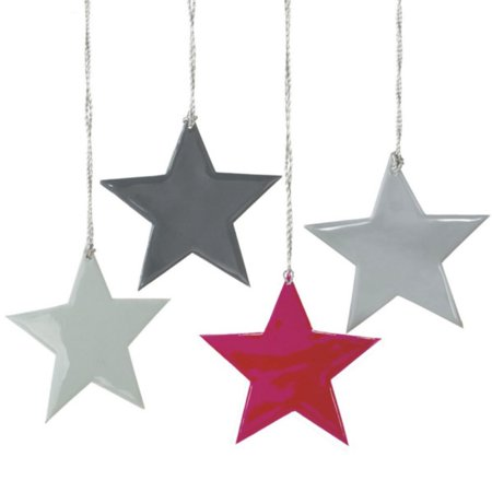 Set of 4 Small Whimsical Multi-Colored Star Silhouette Christmas Ornaments 4