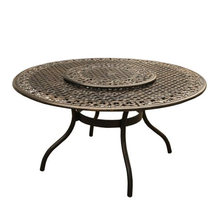 """Image of """"59"""""""" Brown Mesh Lattice Round Aluminum Outdoor Patio Dining Table w/ Lazy Susan"""""""