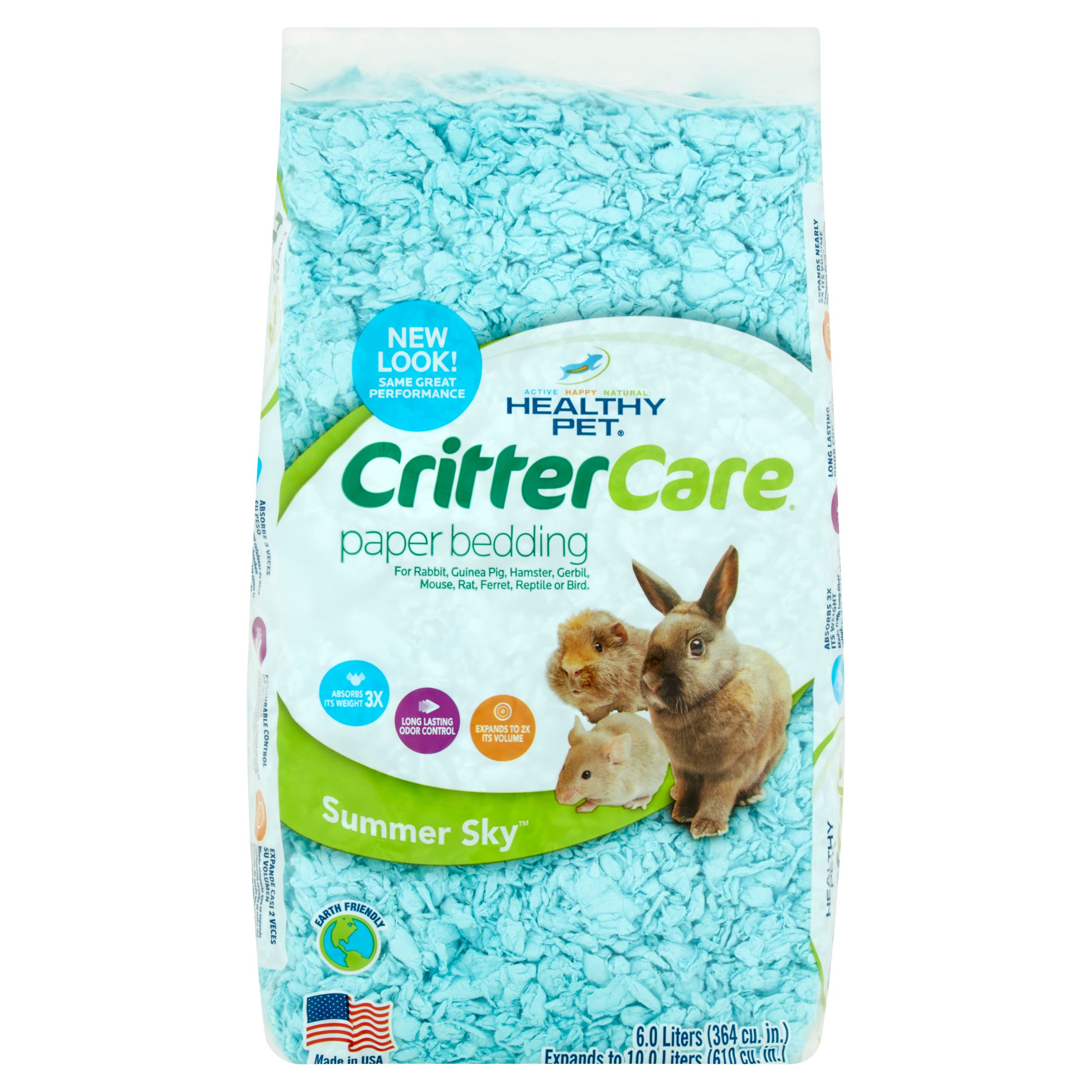 Critter Care Colors Small Pet Bedding - Blue 10L