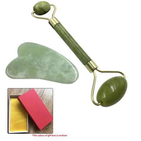 Roller & Gua Sha Scraping Massage Tool with Protective Box for Facial Skin Care Anti-aging Facial Stone Set Face Eye Neck Beauty Roller