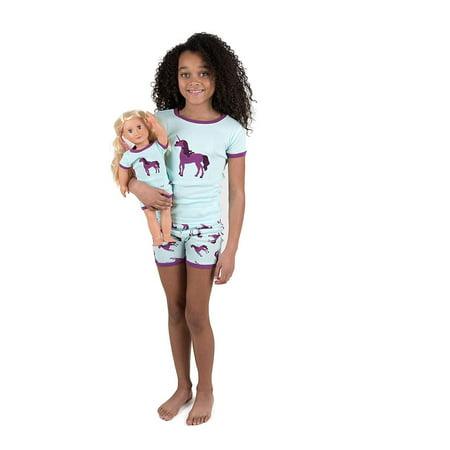 Leveret Shorts Kids Pajamas Matching Doll & Girl Pajamas Set (Unicorn,Size 5 Years)