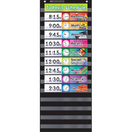 Daily Schedule (Black) Pocket Chart (Hardcover)