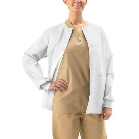 (Unisex ComfortEase Snap-Front Warm-Up Scrub Jacket)