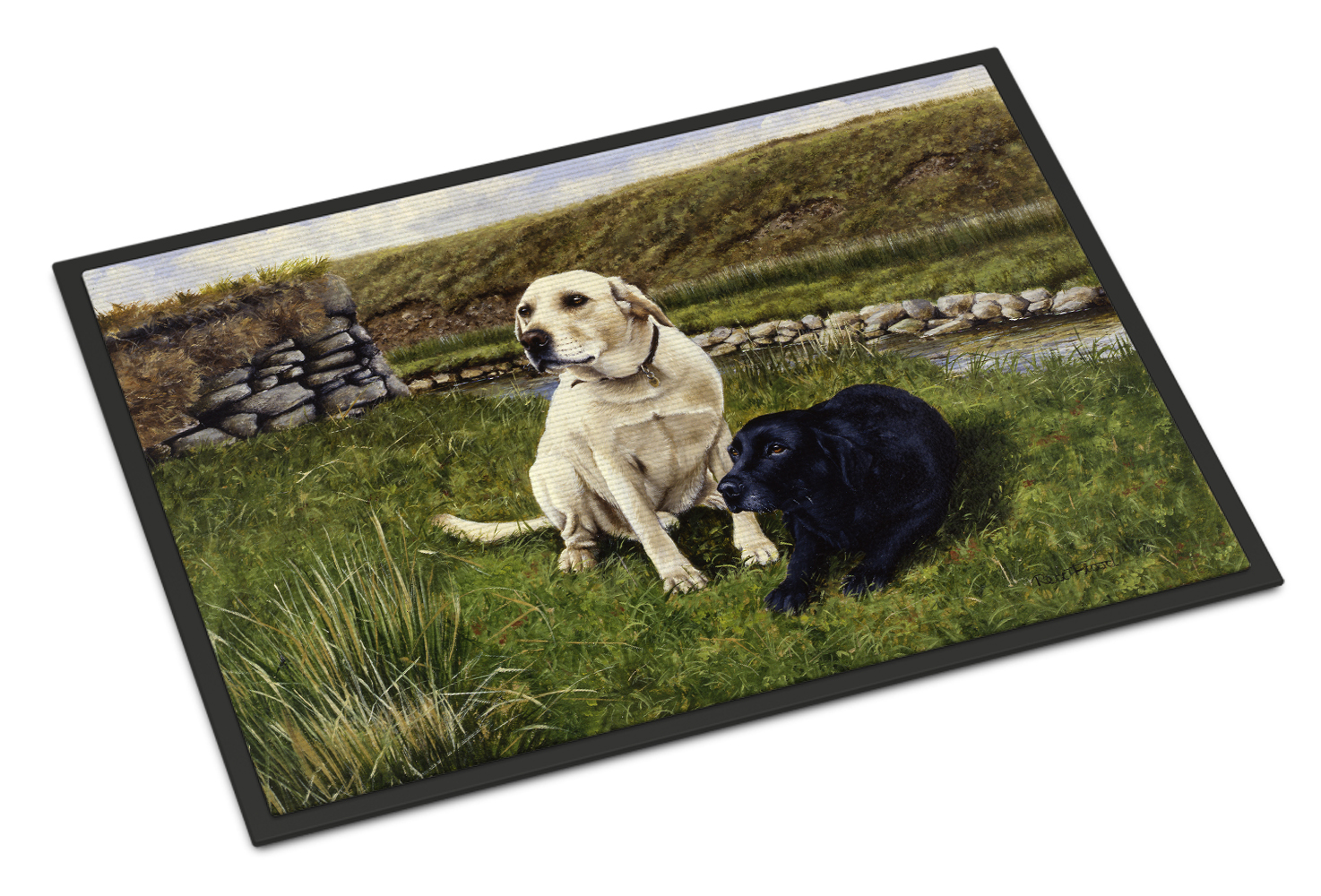 Yellow and Black Labradors Doormat by Caroline's Treasures