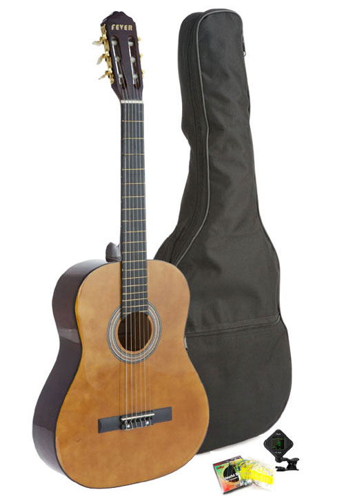 Fever Student Full Size Nylon Classical String Guitar with Bag, Tuner and Strings by Fever
