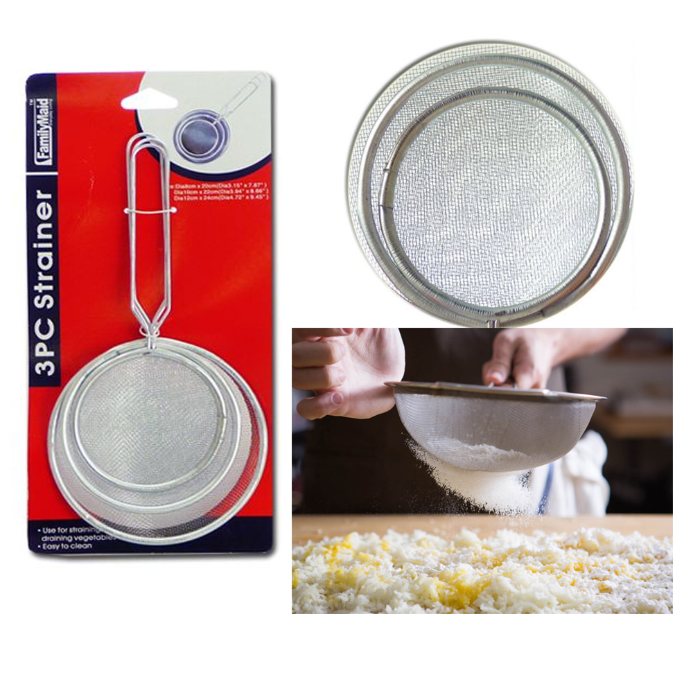 3 Pc Strainer Handle Fine Mesh Colander Sieve Flour Sifter Kitchen Food Drainer by DOLLAR EMPIRE