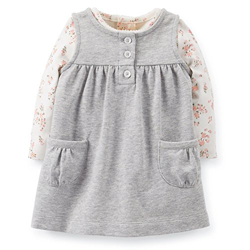 Carter's Baby Girls' Grey Floral Jumper Dress 2 Piece - Newborn