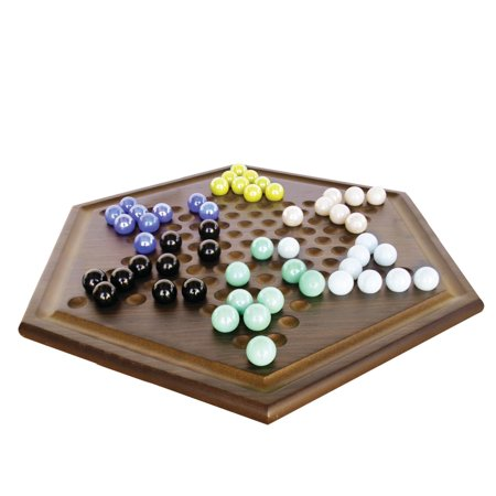 Craftsman Natural Wood Veneer Deluxe Chinese Checkers (Solid Wood Checkers)