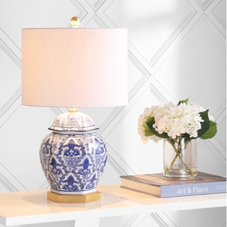 Gretchen 25u0022 Ginger Jar Ceramic/Metal LED Table Lamp, Blue/White by JONATHAN Y