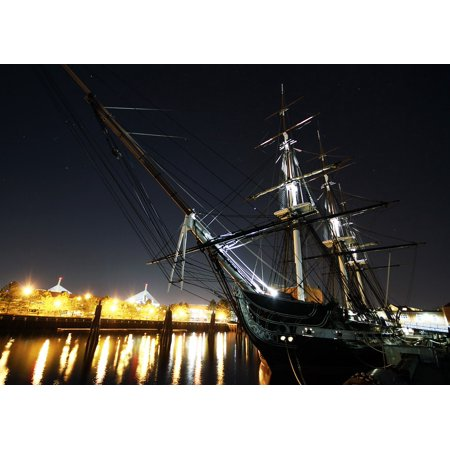 LAMINATED POSTER Massachusetts Boston Uss Constitution Night Evening Poster Print 24 x - Halloween Night Uss Dates