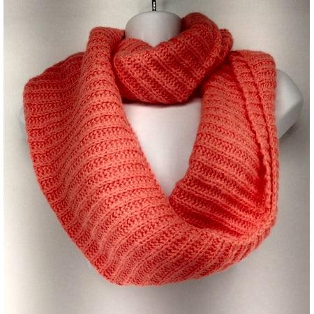 NE13184 Ribbed Knit Infinity Scarf Bright Orange