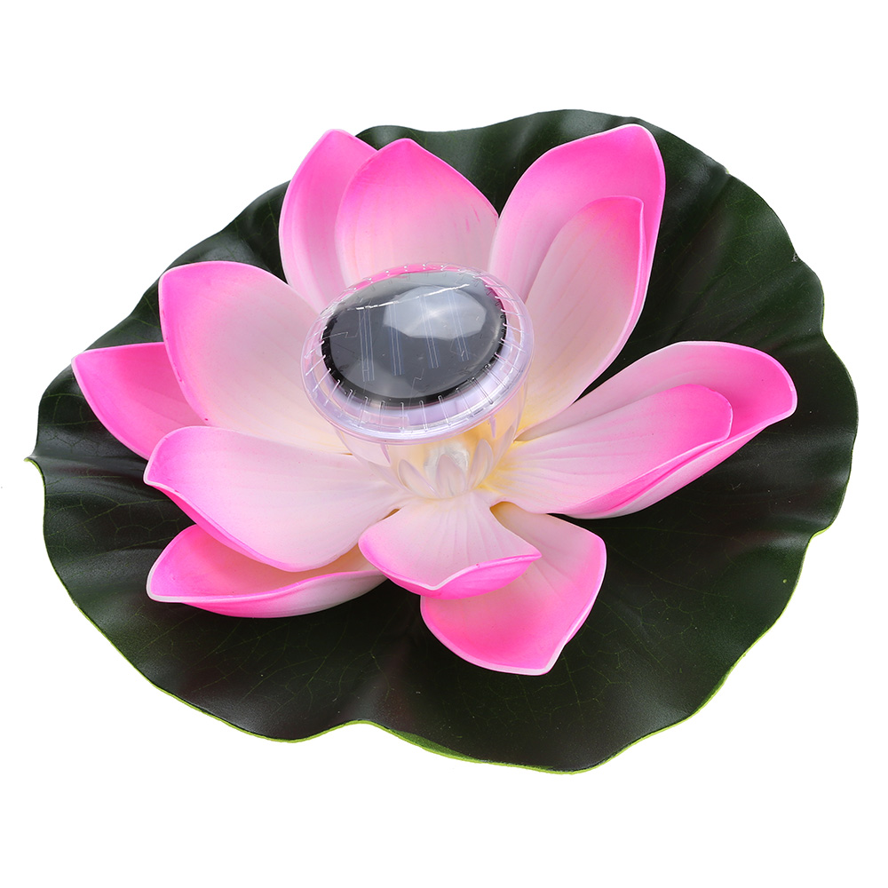 Lixada Solar Powered LED Lotus Flower Light RGB Water Resistant Outdoor Floating Pond Night Light Auto On / Off