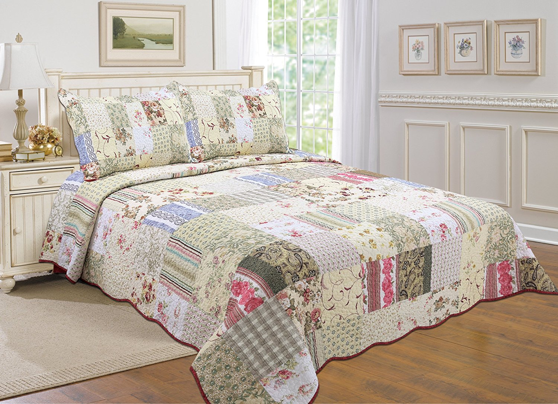 Patchwork Vintage Reversible Bedspread 3 Piece Quilt Bed Comfort Set Double King
