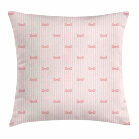 (Baby Throw Pillow Cushion Cover, Vertical Stripes with Bow Ties Pale Palette Illustration Lovely Valentines Day, Decorative Square Accent Pillow Case, 16 X 16 Inches, Rose Pale Pink, by Ambesonne)