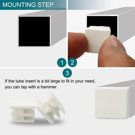 15 x 15mm Plastic Square Ribbed Tube Inserts Cap Furniture Legs Floor Protector - image 6 of 7