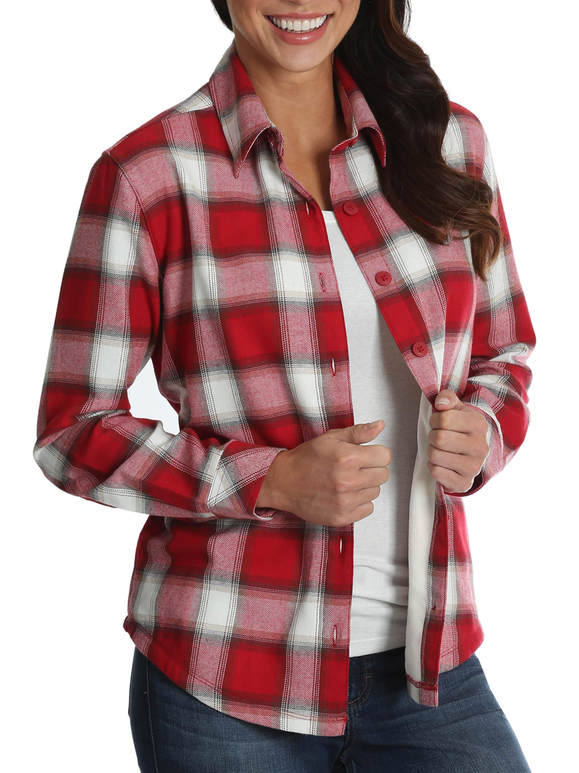 NEW WOMAN/'S LADIES GIRLS 100/% COTTON RED CHECK SHIRT 3//4 SLEEVES WITH HITCH UP