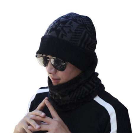 Linen Blend Scarf - 2Pcs Set Men Beanie Hat & Scarf Winter Warm Thick Cashmere Blend Knitted Ski Cap